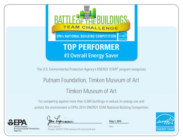 Absolutely Elecitric, Inc. EPA: Overall Energy Saver Award for Timken Museum of Art 2014