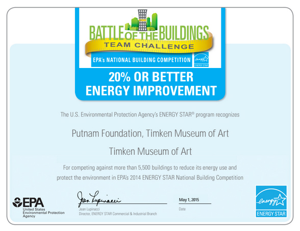 Absolutely Elecitric, Inc. EPA: 20% or Better Energy Improvement  Award for Timken Museum of Art 2014
